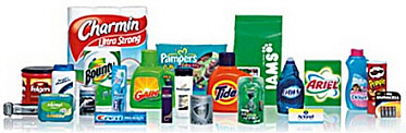 Charmin, Pampers, IAMS pet food, Bounty paper towels, Tide, Clorox, Pringles, Gillete