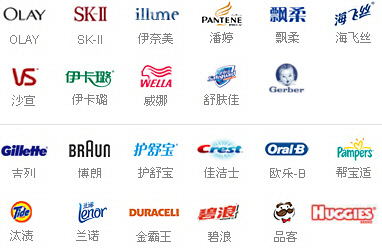 Olay, SK-II, Gerber baby foods, illume, Pantene, Vidal Sasoon, Wella, Safe Guard soap, Gillette, Braun Crest, Oral-B, Pampers, Tide, Lenor, Duracell, Pringles chips, Huggies diapers